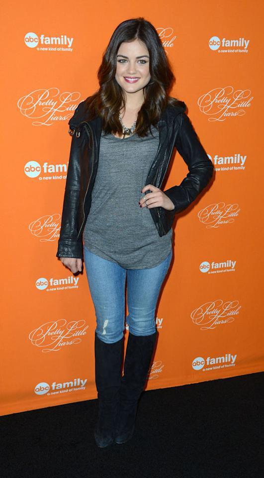 "Lucy Hale arrives at the screening of ABC Family's ""Pretty Little Liars"" Special Halloween Episode at Hollywood Forever Cemetery on October 16, 2012 in Hollywood, California."