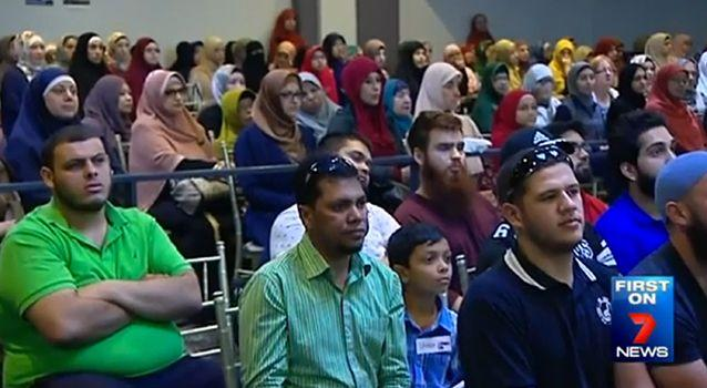 Women are made to sit at the back of Hizb ut-Tahrir meetings. Photo: 7News