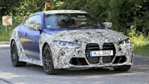 """<p>BMW strips off some camouflage from the new M4. The nose continues to be huge, and the front end also has two huge inlets in the lower fascia. At the back, there are two pairs of circular exhausts.</p> <h3><a href=""""https://www.motor1.com/news/437939/2021-bmw-m4-spied/"""" rel=""""nofollow noopener"""" target=""""_blank"""" data-ylk=""""slk:2021 BMW M4 Spied: Best Look Yet At Bavaria's New Performance Coupe"""" class=""""link rapid-noclick-resp"""">2021 BMW M4 Spied: Best Look Yet At Bavaria's New Performance Coupe</a></h3> <h2>What To Expect:</h2><br><a href=""""https://www.motor1.com/news/435421/2021-bmw-m3-rendering/"""" rel=""""nofollow noopener"""" target=""""_blank"""" data-ylk=""""slk:2021 BMW M3 Accurately Rendered As Spy Shots Together With M4 Emerge"""" class=""""link rapid-noclick-resp"""">2021 BMW M3 Accurately Rendered As Spy Shots Together With M4 Emerge</a><br><a href=""""https://www.motor1.com/news/435004/2022-bmw-m4-gt3-preview/"""" rel=""""nofollow noopener"""" target=""""_blank"""" data-ylk=""""slk:2022 BMW M4 GT3 Previewed With Ultra-Wide Rear"""" class=""""link rapid-noclick-resp"""">2022 BMW M4 GT3 Previewed With Ultra-Wide Rear</a><br>"""