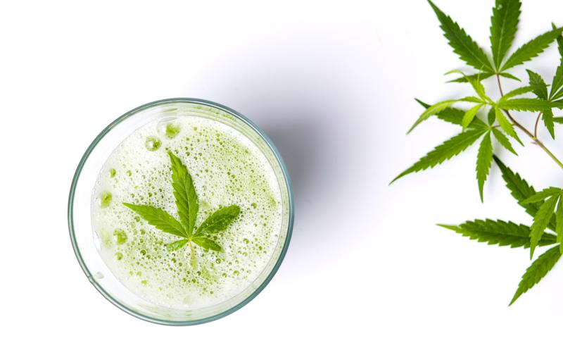 A cannabis leaf lying atop carbonation in a glass, with cannabis leaves to the right of the glass.
