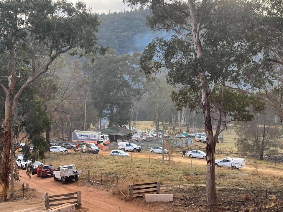 More than 130 people were involved in the search of the property over the weekend. Source: Nine News