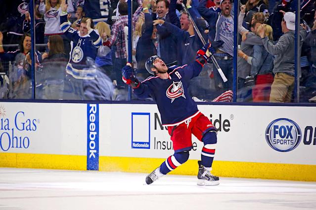 COLUMBUS, OH - APRIL 23: Brandon Dubinsky #17 of the Columbus Blue Jackets celebrates after scoring the game tying goal during the third period against the Pittsburgh Penguins in Game Four of the First Round of the 2014 NHL Stanley Cup Playoffs at Nationwide Arena on April 23, 2014 in Columbus, Ohio. (Photo by Kirk Irwin/Getty Images)