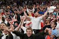 Passion play: Supporters celebrate after England beat Denmark to reach their first final since winning the 1966 World Cup, also at Wembley