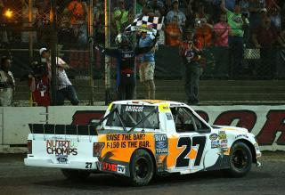 Chase Briscoe celebrates his win in the 2018 Eldora Dirt Derby. (Photo by Matt Sullivan/Getty Images)