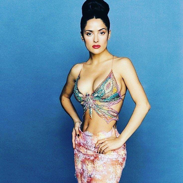 Salma Hayek poses for a throwback