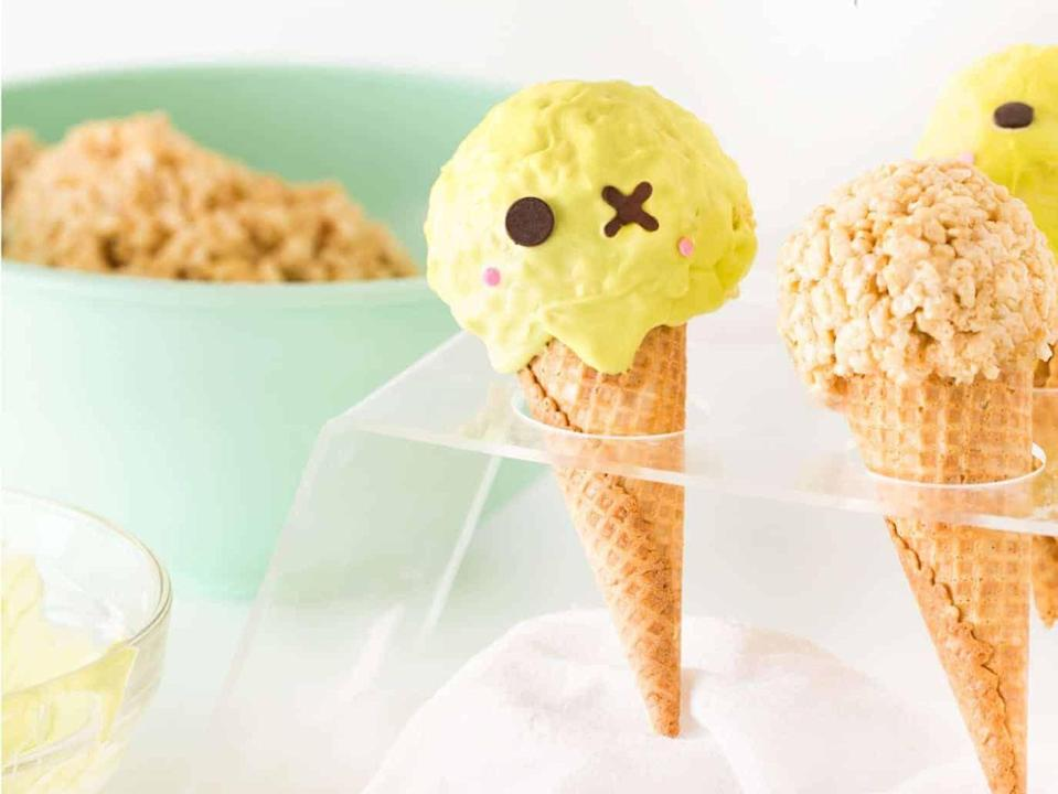 """<p>An adorable handheld dessert that comes together with just five ingredients and 30 minutes of your time. </p><p><a class=""""link rapid-noclick-resp"""" href=""""https://www.designeatrepeat.com/zombie-halloween-rice-krispie-treats/"""" rel=""""nofollow noopener"""" target=""""_blank"""" data-ylk=""""slk:GET THE RECIPE"""">GET THE RECIPE</a></p>"""