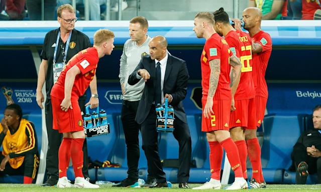 Belgium's head coach, Roberto Martínez, issues instructions to his players during the semi-final defeat by France.