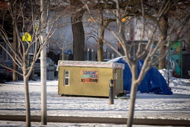A tiny shelter in Toronto's Alexandra Park is pictured on Feb. 12, 2021. A group of volunteers delivers hot food and supplies to residents of the encampment daily.