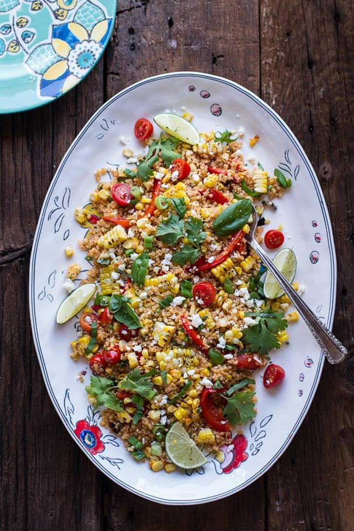 """<p>Having a barbecue? Not without this salad, you aren't! With lime juice, cilantro, and chili powder, it's the dish of everyone's dreams. The best part is, you can warm it up the next day so feel free to make as much as you please.</p> <p><strong>Get the recipe:</strong> <a href=""""http://www.halfbakedharvest.com/summer-grilled-mexican-street-corn-quinoa-salad/"""" class=""""link rapid-noclick-resp"""" rel=""""nofollow noopener"""" target=""""_blank"""" data-ylk=""""slk:Mexican grilled street corn quinoa salad"""">Mexican grilled street corn quinoa salad</a> </p>"""