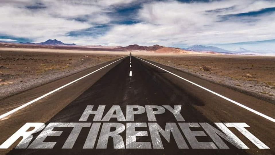 """Happy Retirement"""" on a road"""