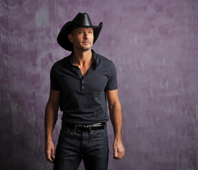 """In this Jan. 15, 2013 photo, Country singer and actor Tim McGraw poses for a portrait, in Nashville, Tenn. The Academy of Country Music announced Wednesday, Jan. 23, they will tape an all-star concert special, """"ACM Presents: Tim McGraw's Superstar Summer Night,"""" ACM on Monday, April 8, 2013 at the MGM Grand Garden Arena in Las Vegas. It will be broadcast at a later date on the CBS Television Network. (Photo by Donn Jones/Invision/AP)"""