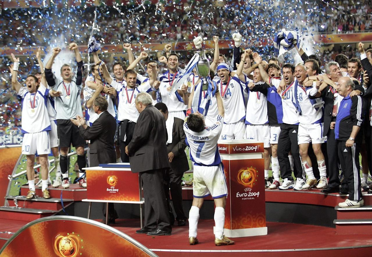 <p>Greece were unlikely champions, beating Portugal 1-0 in the final of Euro 2004 in Lisbon. Starting in a group including Spain and the hosts, Otto Rehhagel's men defied the odds to claim glory. </p>