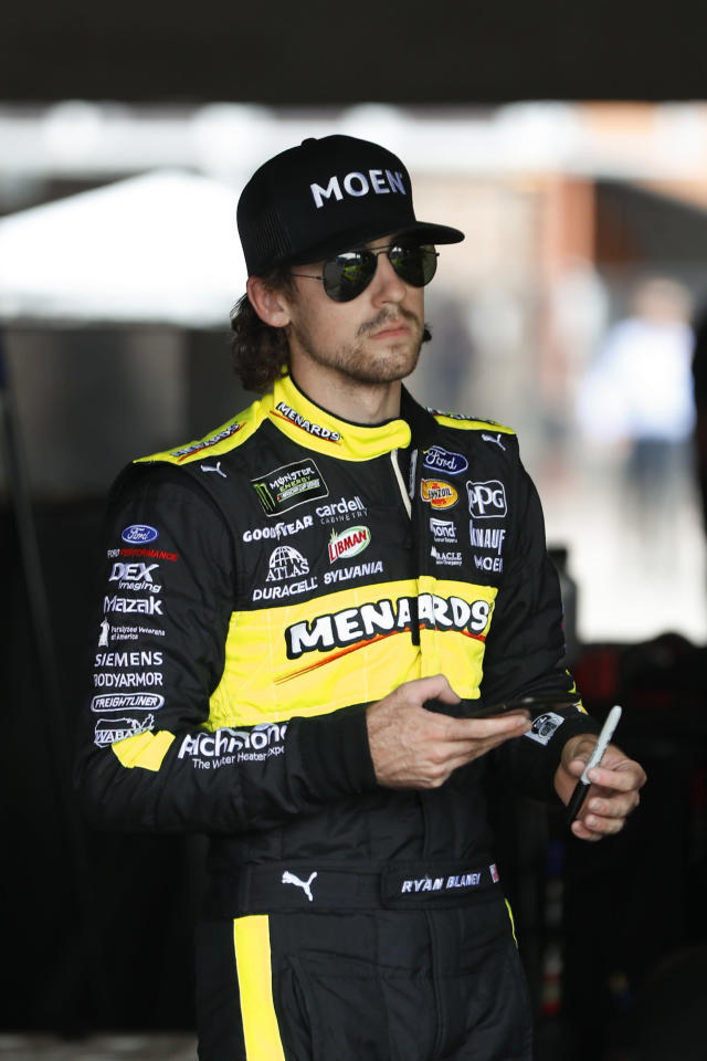 Ryan Blaney watches during practice for a NASCAR Cup Series auto race at Michigan International Speedway in Brooklyn, Mich., Saturday, Aug. 10, 2019. (AP Photo/Paul Sancya)