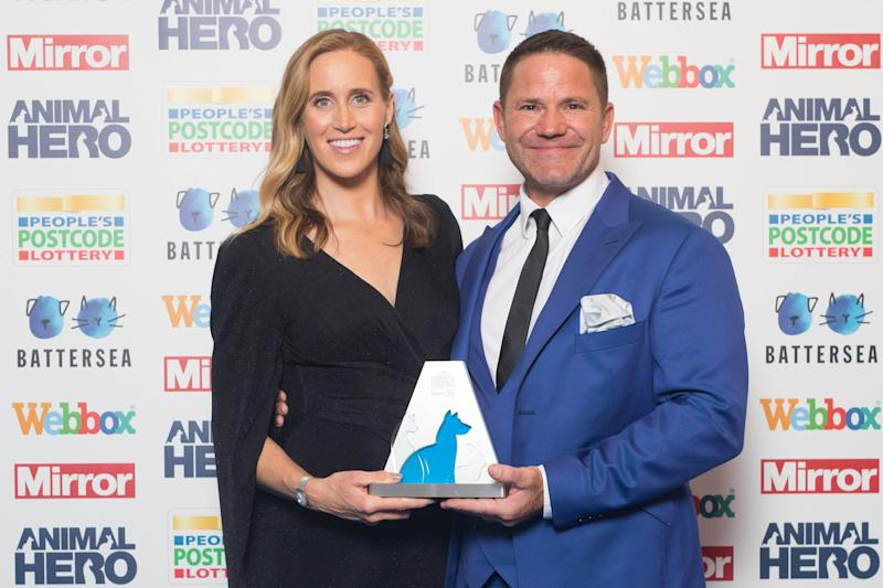 Presenters Helen Glover and Steve Backshall at the Mirror Animal Hero Awards 2019, in partnership with People's Postcode Lottery and Webbox.