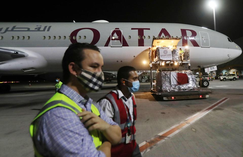 Revelations that passengers flying through Doha were forced to endure vaginal inspections have upended Qatar's efforts to boost its reputation before the Gulf state hosts World Cup 2022, experts say. Officers marched women off a Sydney-bound Qatar Airways flight earlier this month and forced them to undergo intimate examinations after a newborn baby was found abandoned in an airport bathroom. (Photo by KARIM JAAFAR / AFP) (Photo by KARIM JAAFAR/AFP via Getty Images) (AFP via Getty Images)
