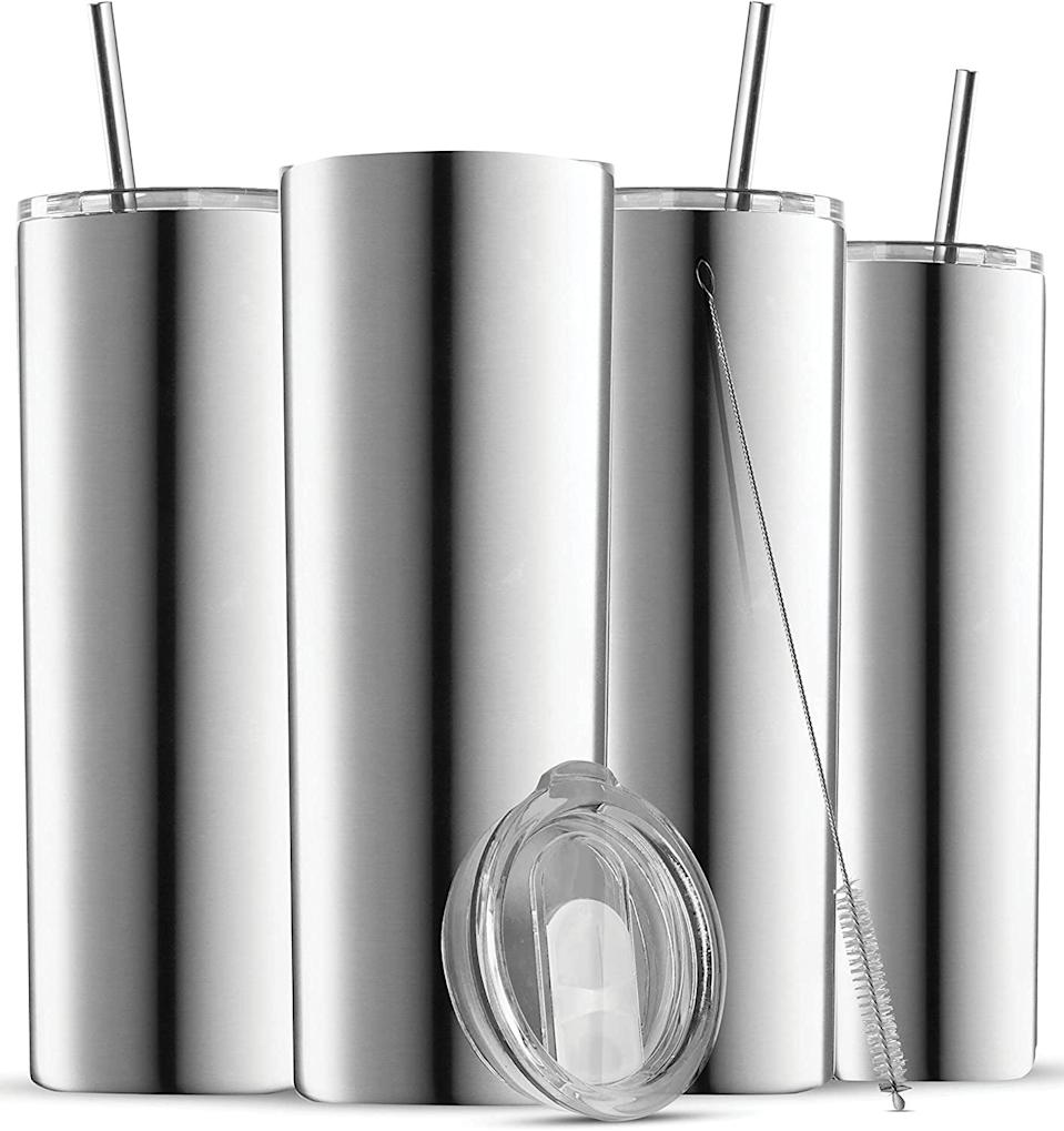 <p>From iced-coffee to refreshing smoothies, the <span>Insulated Skinny Stainless Steel Tumbler Set - 4-Pack</span> ($25) will be your new beverage go-to.</p>
