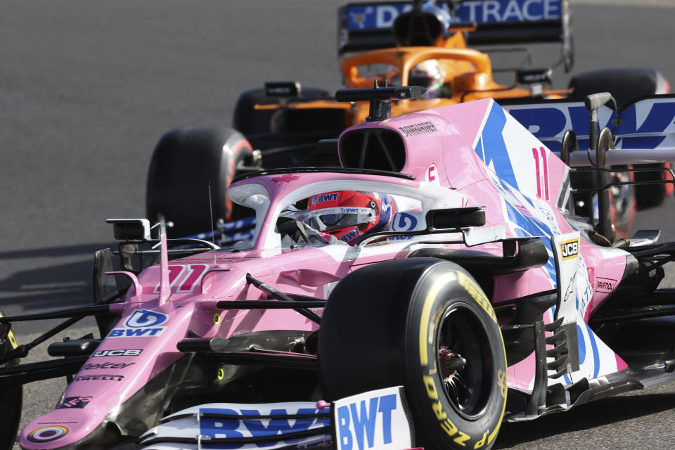 Racing Point driver Sergio Perez of Mexico steers his car during the qualifying session for the Eifel Formula One Grand Prix at the Nuerburgring racetrack in Nuerburg, Germany, Saturday, Oct. 10, 2020. The Germany F1 Grand Prix will be held on Sunday. (Wolfgang Rattay, Pool via AP)