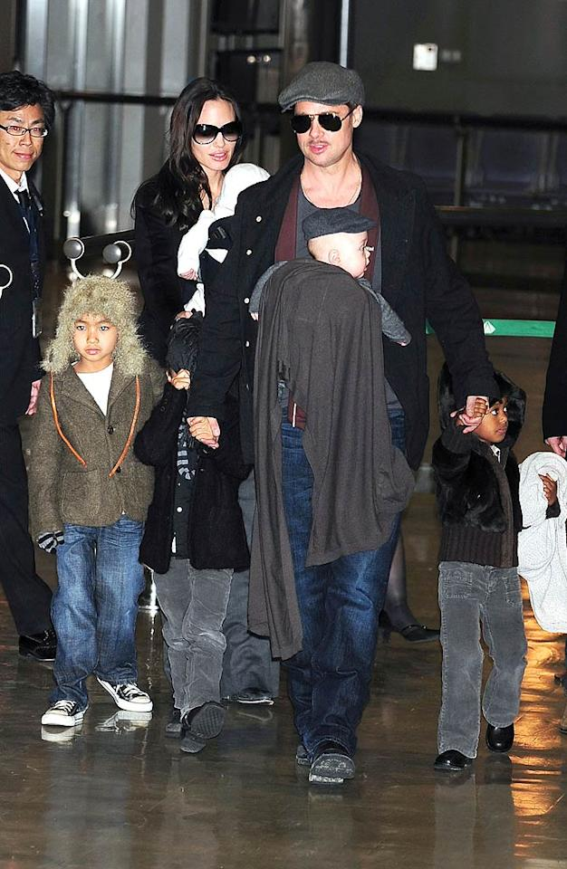 """Brangelina rarely leave their brood at home while globetrotting. Jun Sato/<a href=""""http://www.wireimage.com"""" target=""""new"""">WireImage.com</a> - January 27, 2009"""