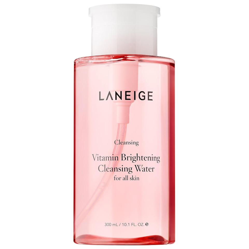 "<p>Not only does this top-rated <a href=""https://www.popsugar.com/buy/Laneige-Vitamin-Brightening-Cleansing-Water-586903?p_name=Laneige%20Vitamin%20Brightening%20Cleansing%20Water&retailer=sephora.com&pid=586903&price=24&evar1=bella%3Aus&evar9=47595992&evar98=https%3A%2F%2Fwww.popsugar.com%2Fphoto-gallery%2F47595992%2Fimage%2F47596005%2FLaneige-Vitamin-Brightening-Cleansing-Water&list1=sephora%2Ccleanser%2Cbeauty%20shopping%2Cskin%20care&prop13=api&pdata=1"" class=""link rapid-noclick-resp"" rel=""nofollow noopener"" target=""_blank"" data-ylk=""slk:Laneige Vitamin Brightening Cleansing Water"">Laneige Vitamin Brightening Cleansing Water</a> ($24) practically melt off makeup, it also features an antioxidant blend of vitamins B, C, and superberry extract to brighten skin over time.</p>"