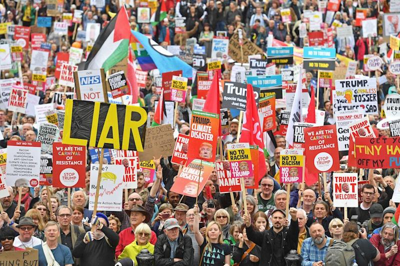 Protesters in Trafalgar Square, London on the second day of the state visit to the UK by US President Donald Trump (Picture: PA)