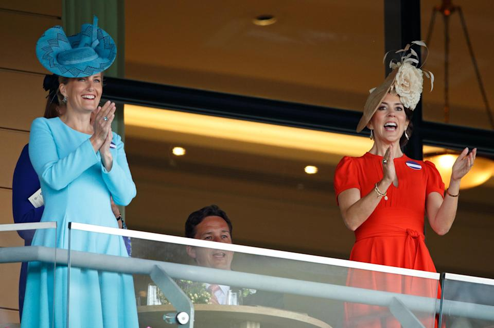 Sophie, Countess of Wessex and Crown Princess Mary of Denmark watch the racing as they attend Royal Ascot in 2016. [Photo: Getty]