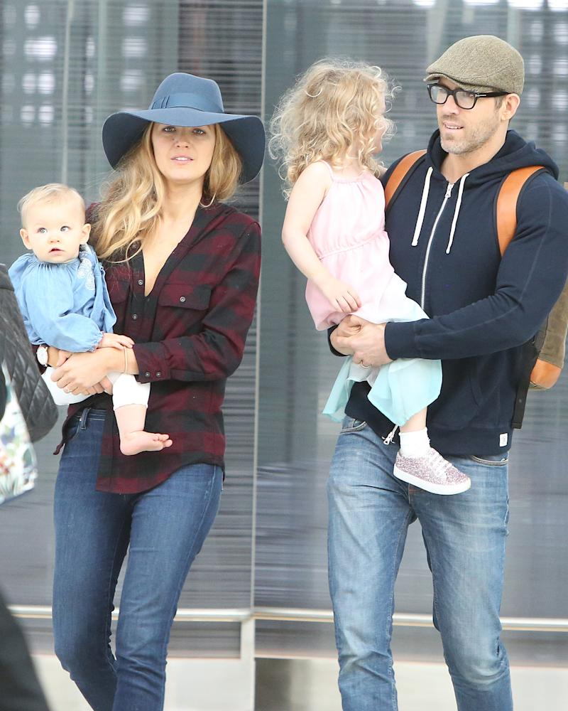 Blake Lively & Ryan Reynolds Take Kids to Airport