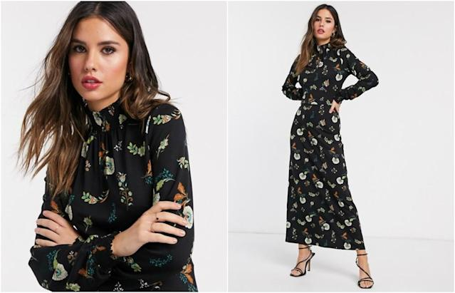 Warehouse maxi dress in black floral print
