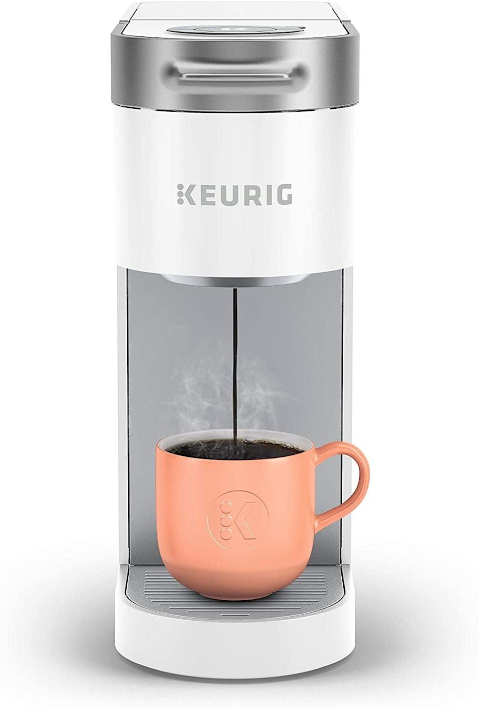 <p>If you have limited space, the <span>Keurig K-Slim Coffee Maker, Single Serve K-Cup Pod Coffee Brewer, White</span> ($80, originally $110) is a sleek coffee maker that gets the job done!</p>
