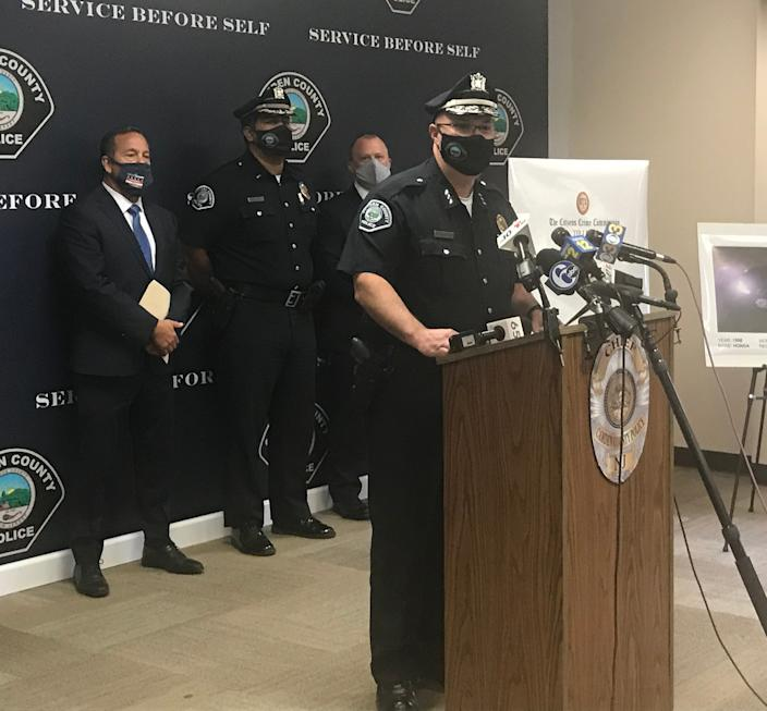 Camden County Police Chief Joseph Wysocki, at a press conference Thursday, discusses a shooting attack on the home of two officers.