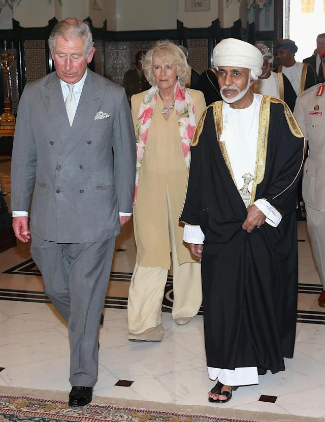 MUSCAT, OMAN - MARCH 17: Prince Charles, Prince of Wales and Camilla, Duchess of Cornwall arrive for an audience with the Sultan of Oman Qaboos bin Said Al Saidat at the Sultan's Palace at Bayt al Baraka on the seventh day of a tour of the Middle East on March 17, 2013 in Muscat, Oman. The Royal couple are on the fourth and final leg of a tour of the Middle East taking in Jordan, Qatar, Saudia Arabia and Oman. (Photo by Chris Jackson - Pool/Getty Images)