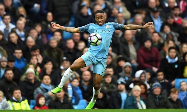"<span class=""element-image__caption"">Raheem Sterling controls the ball during the Premier League match between Manchester City and Liverpool at the Etihad Stadium.</span> <span class=""element-image__credit"">Photograph: Laurence Griffiths/Getty Images</span>"