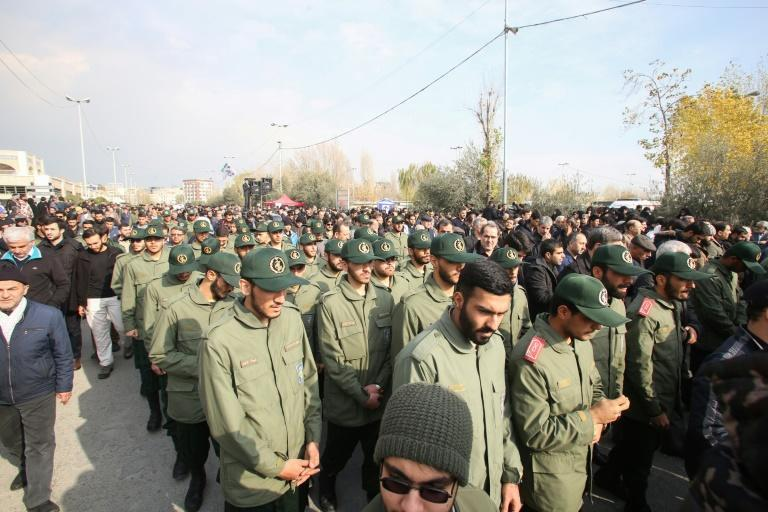 Iranian Revolutionary Guards join a protest march in Tehran against the US killing in Baghdad of senior commander Major General Qasem Soleimani
