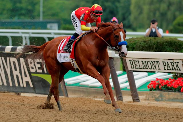 Justify with jockey Mike Smith aboard wins the 150th running of the Belmont Stakes, the third leg of the Triple Crown, on June 9, 2018. (Reuters)