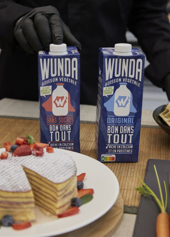 "Bottles of Nestle new product, a milk alternative made from yellow peas called ""Wunda"", are pictured in Lausanne"