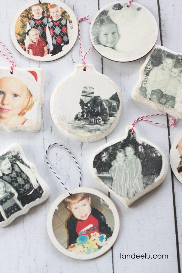 "<p>Fill your Christmas tree with fond memories by transferring photos onto wooden ornaments. </p><p><strong>Get the tutorial at <a href=""http://www.landeeseelandeedo.com/2014/12/photo-transfer-christmas-ornaments.html"" rel=""nofollow noopener"" target=""_blank"" data-ylk=""slk:LandeeSee LandeeDo"" class=""link rapid-noclick-resp"">LandeeSee LandeeDo</a>.</strong></p><p><a class=""link rapid-noclick-resp"" href=""https://www.amazon.com/Package-Unfinished-Round-Christmas-Ornaments/dp/B0058OKYEA/?tag=syn-yahoo-20&ascsubtag=%5Bartid%7C10050.g.1070%5Bsrc%7Cyahoo-us"" rel=""nofollow noopener"" target=""_blank"" data-ylk=""slk:SHOP WOOD ORNAMENTS"">SHOP WOOD ORNAMENTS</a><br></p>"