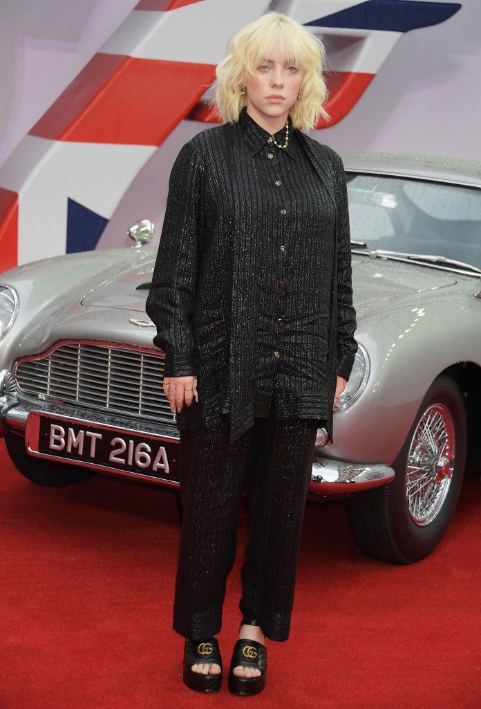 <p>Eilish wore a black Guccu two-piece to the red carpet. </p>