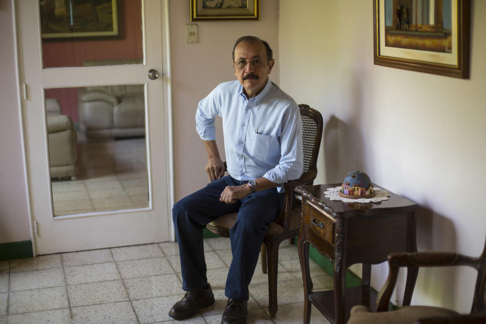 FILE - In this May 2, 2018 file photo, retired Sandinista Gen. Hugo Torres poses for a portrait at his home in Managua, Nicaragua. Nicaraguan police arrested Torres, a prominent ex-Sandinista dissident on Sunday, June 13, 2021, bringing to six the number detained over the weekend, the biggest one-day roundup so far in President Daniel Ortega's campaign to jail anyone who might challenge his rule. (AP Photo/Moises Castillo, File)