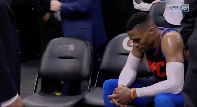 "<a class=""link rapid-noclick-resp"" href=""/nba/players/4390/"" data-ylk=""slk:Russell Westbrook"">Russell Westbrook</a> was beside himself after the Thunder's fifth loss in six games. (Screencap via FOX Sports Oklahoma)"