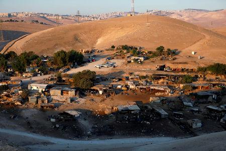 FILE PHOTO: A general view shows the main part of the Palestinian Bedouin village of Khan al-Ahmar that Israel plans to demolish, in the occupied West Bank September 11, 2018. REUTERS/Mohamad Torokman/File Photo