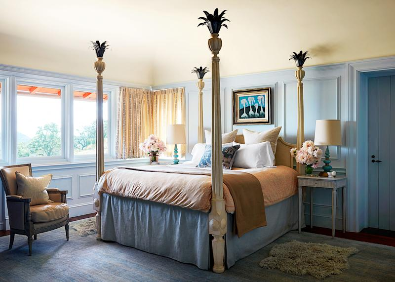The master bedroom's Venetian bed is a family heirloom. Custom duvet by Fortuny; cashmere throw by Frette; pillows of a Mexican textile; rug from Amadi.