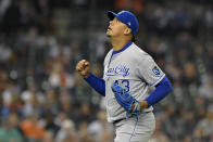 Kansas City Royals starting pitcher Carlos Hernandez reacts after getting the final out of the fifth inning against the Detroit Tigers during a baseball game, Friday, Sept. 24, 2021, in Detroit. (AP Photo/Jose Juarez)
