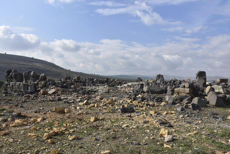 In this photo released Saturday, Jan. 27, 2018 by Hawar news, the news agency for the semi-autonomous Kurdish areas in Syria (ANHA), shows the temple of Ain Dara, an Iron Age Syro-Hittite temple, which dates back between the 10th and 8th century BC, which the Kurdish militia and the Syrian Observatory for Human Rights claimed was damaged by Turkish airstrikes late Friday, in the countryside of Afrin, Syria. (ANHA via AP)