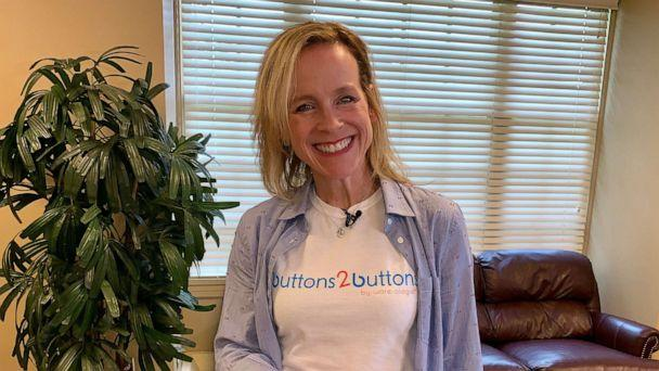 PHOTO: Wareologie founder Gina Adams holds the company's Buttons 2 Button product. (Wareologie)