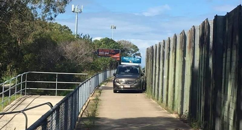 A police speed camera van parked on bicycle pathway in QLD.