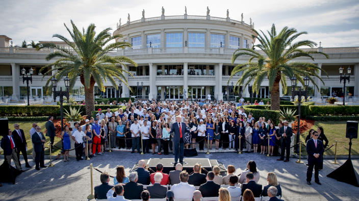 Donald Trump speaks at a campaign event with employees at Trump National Doral in Miami in 2016. (Evan Vucci, File/AP)