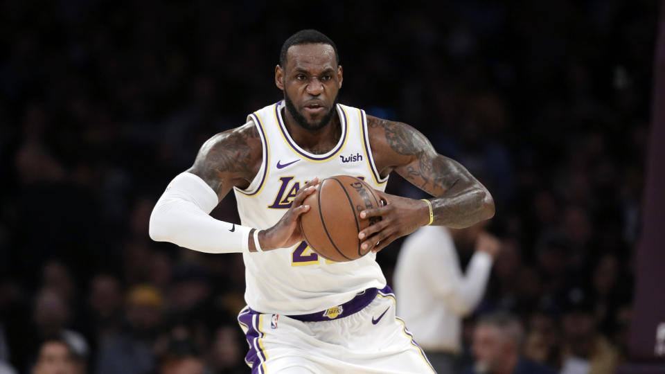 Los Angeles Lakers' LeBron James (23) during an NBA basketball game Sunday, March 24, 2019, in Los Angeles. (AP Photo/Marcio Jose Sanchez)