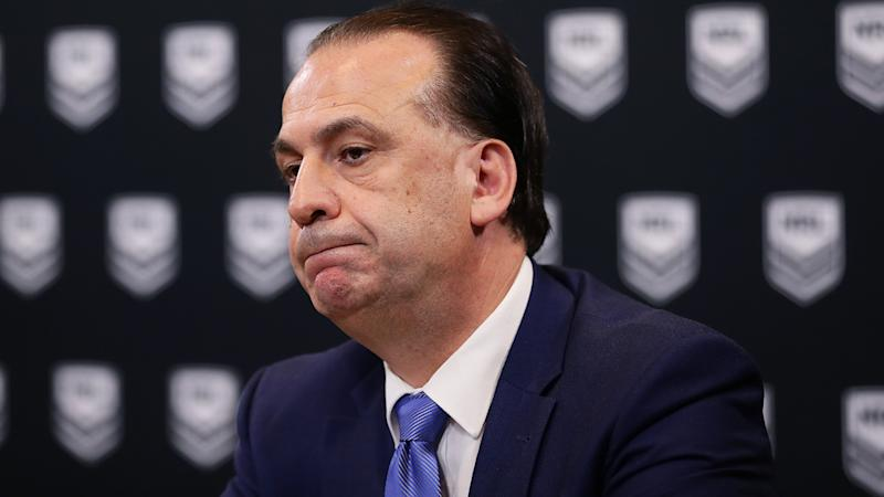 ARLC Chairman Peter V'landys, pictured here speaking to the media in Sydney.