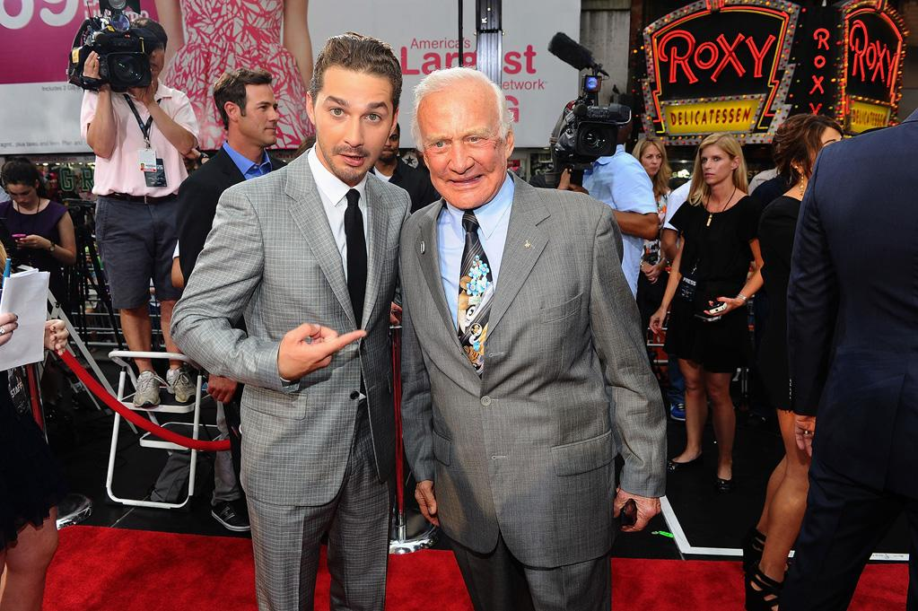 """<a href=""""http://movies.yahoo.com/movie/contributor/1804503925"""">Shia LaBeouf</a> and Buzz Alrdin at the New York City premiere of <a href=""""http://movies.yahoo.com/movie/1810159115/info"""">Transformers: Dark of the Moon</a> on June 28, 2011."""