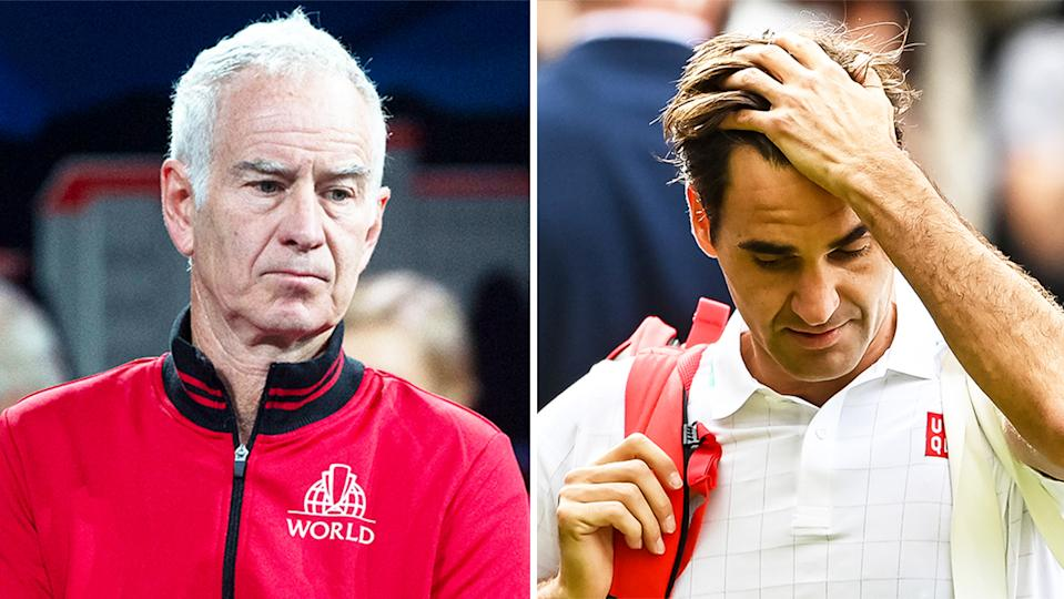 Tennis legend John McEnroe (pictured left) during the Rod Laver Cup and Roger Federer (pictured right) walking off Centre Court at Wimbledon.