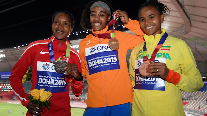 Sifan Hassan, pictured here with her gold medal.